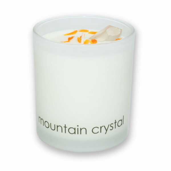 Mountain Crystal scented candle in a glass