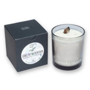 Smoky quartz scented candle in a glass